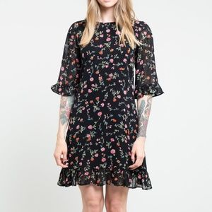 Ganni Elm Floral Georgette Dress - Size 40